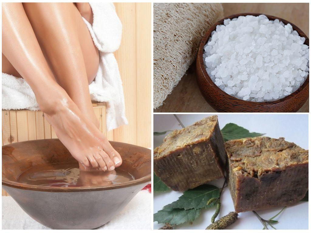 Дегтярное мыло и соль от грибка